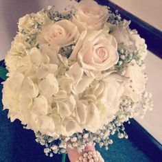 Hydrangea, rose, baby's breath bouquet