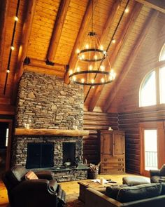 Custom double HALO chandelier for a log cabin home. I love fun projects!!!