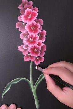 Acrylic Painting Flowers, Acrylic Art, Painting Flowers Tutorial, One Stroke Painting, Canvas Painting Tutorials, Diy Canvas Art, Art Drawings Sketches Simple, Diy Art, Flower Art