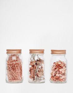 Imagen 2 de Set de 3 tarros de cobre de clips y alfileres Get Organised de Paperchase