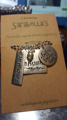 Hand stamped custom charm necklace. Let me know the specifics in the comments on your order.