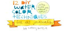 Here are 12 easy DIY Watercolor Techniques to create interesting textures for art journals and other projects, too! These all involve things you probably already have around the house! Have fun experimenting and enjoy!