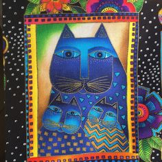 LAUREL BURCH, fabric panel, Cats with Flowers, Fanciful Felines, 9 squares quilting cotton https://www.etsy.com/listing/222263780/laurel-burch-fabric-panel-cats-with