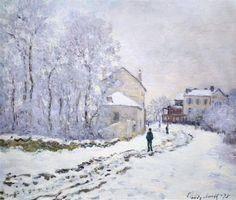 Snow at Argenteuil, 1875 by Claude Monet. Impressionism. landscape