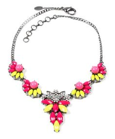 Look what I found on #zulily! Fuchsia & Yellow Crystal Floral Bib Necklace #zulilyfinds