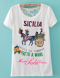 #SheInside White Short Sleeve Back Lace Carriage Print T-Shirt