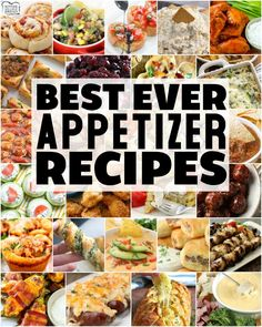 Easy appetizer recipes with few ingredients and minimal prep time are exactly what you need for any party! Fantastic collection of the BEST simple appetizer recipes ever! Here are our most popular appetizer Best Appetizers Ever, Popular Appetizers, Best Appetizer Recipes, Bread Appetizers, Summer Dessert Recipes, Appetizers For Party, Salad Recipes, Dinner Recipes, Appetizer Ideas
