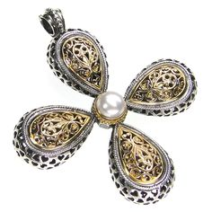 Gerochristo 5215 ~ Solid Gold, Silver & Pearl Byzantine-Medieval Large Filigree Cross Pendant at CultureTaste. Greek Jewelry, Pearl Jewelry, Gold Jewelry, Fine Jewelry, Jewelry Making, Pearl Pendant, Cross Pendant, Byzantine Jewelry, Ebay Shopping