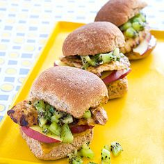 Grilled Chicken Sliders            These pint-sized sandwiches are perfect for tiny hands. Kiwi and apple provide a sweet and crunchy nutritional boost.