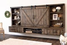 Floating Wall Tv Stand New Farmhouse Barn Door Entertainment Center Floating Tv Stand Spice Wall Tv Stand, Diy Tv Stand, Floating Entertainment Center, Tv Entertainment Centers, Entertainment Shelves, Entertainment Center Makeover, Entertainment Furniture, Barn Door Tv Console, Barn Door Tv Stand