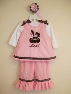Personalized three piece Easter outfit with bunny.