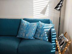 wood grain blue cushions photo by Louise Melchior #EllaDoran #woodgrain #cushions #blue #sofa #furniture #home #design #interiors #space #accessories #sunlight #home #art #photography #blue #colour