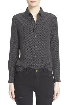SAINT LAURENT Polka Dot Print Silk Blouse. #saintlaurent #cloth #