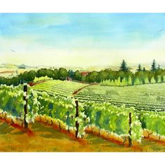 Amity Vineyards III ( series 1) Vineyard Painting, Winery and vineyard where delicious Wine is made and sold in central California Wall Art