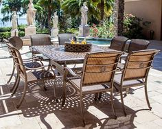 Palladio 10PC Dining Set Featuring A Large Firepit Party Table In An All Cast Aluminum | Luther Appliance and Furniture