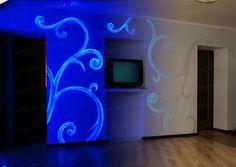 Invisible UV light paint for walls http://acmelight.eu/