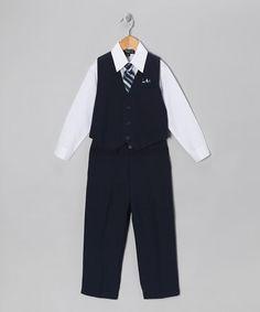 Look what I found on #zulily! Dark Navy & White Five-Piece Vest Set - Infant, Toddler & Boys by Silver Suit #zulilyfinds