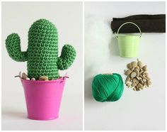 Crochet DIY kit to make a crochet Saguaro cacti planted in a tin pail. Bright and colorful accent to your home or office decor.  SILL LEVEL: Easy To read