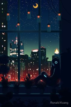 'A Quiet Night' Art Print by Ronald Kuang Anime Scenery Wallpaper, Wallpaper Backgrounds, Drawing Wallpaper, Animes Wallpapers, Cute Wallpapers, Aesthetic Art, Aesthetic Anime, Arte 8 Bits, Night Scenery