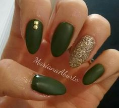 Green military nails gold glitter