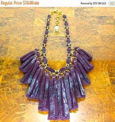 ON SALE Leather Tassel Necklace/ Burgundy por ChandraJewelry