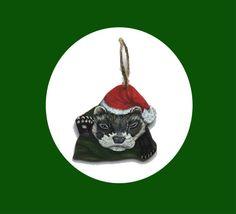 Original Ferret Acrylic Christmas Ornament Painting Art Handmade #IllustrationArt