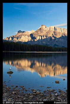 Mount Rundle reflected in Two Jack Lake, early morning. Banff National Park, Canadian Rockies, Alberta, Canada