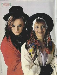Boy George with his Mum on the back cover of Smash Hits magazine December 1983