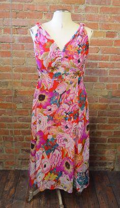 25441f09107672 TALL GIRL Dress Floral Sleeveless Purple Pink Red Crepe Women s Sz 18 Tall