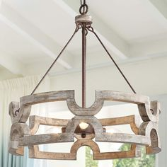 "KSANA Farmhouse Chandelier, Wood Drum Chandeliers for Dining Rooms, Living Room, Hand-Painted White Finish, W19.5"" X H21"""