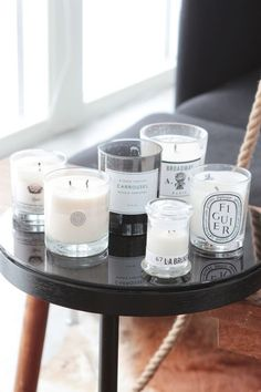 Fresh and clean home atmosphere with candles - Decoration suggestions - House interior ideas - Home Spray, Luxury Candles, Candle Lanterns, Candels, Candle Decorations, Scented Candles, Diptyque Candles, Interior Inspiration, Home Accessories