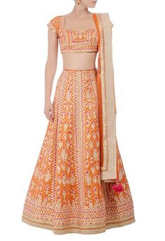 How pretty is the neckline on this orange bridal lehenga set. Priced under 40k after discount, this designer piece is a steal deal. Check out more options on the blog #Frugal2Fab