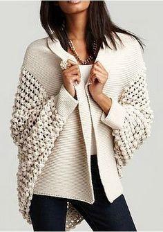 Kış mevsimi de dahil olmak üzere, bu sene her mevsimde karşımıza hırkalar… Including the winter season, we see cardigans every season. If you understand from knitting, you can start knitting one of the most fashionable female cardigan models. Crochet Jacket, Knit Crochet, Crochet Cardigan, Crochet Sweaters, Crochet Baby, Handgestrickte Pullover, Mode Shoes, Mode Inspiration, Fashion Inspiration