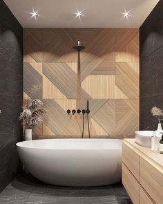 Wood wood everywhere!😍 what's your favourite part of this bathroom? ・・・ _ Really enjoying the contrast that the materials create here. Designed by located in Saint Petersburg. Bathroom Design Inspiration, Bad Inspiration, Bathroom Interior Design, Modern Interior Design, Design Ideas, Modern Baths, Modern Bathroom, Master Bathroom, Bathroom Ideas