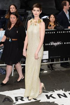"""Anne Hathaway attends the UK premiere of """"The Dark Knight Rises"""" at Odeon Leicester Square"""