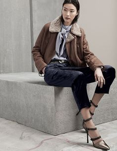 Brunello Cucinelli Shearling Lined Leather Moto Jacket