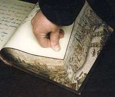 """Fore-edge paintings: """"secret"""" or """"hidden"""" artwork only visible when the books' pages are fanned."""
