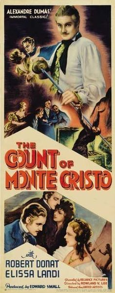 Robert Donat and Elissa Landi in The Count of Monte Cristo Old Movie Posters, Classic Movie Posters, Movie Poster Art, Classic Movies, Old Movies, Vintage Movies, Robert Donat, Horror Posters, Movies Worth Watching