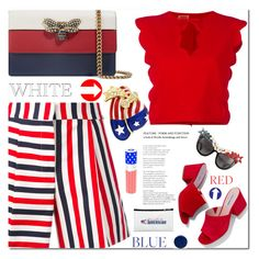 """Red, White & Blue: Celebrate the 4th!"" by samra-bv ❤ liked on Polyvore featuring Thom Browne, Giambattista Valli, Gucci, Steve Madden, Anna-Karin Karlsson, Burberry, House of Sillage and fourthofjuly"