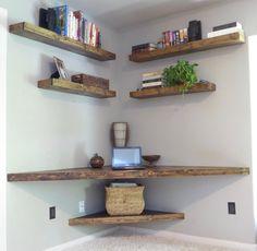 Floating Corner Desk/ Modern Corner Desk/ Floating Shelves/ Wood Desk/ Computer Table/ Writing Desk/ Corner Table/ Laptop D - Desk Wood - Ideas of Desk Wood - Floating Corner Desk/ Modern Corner Desk/ Floating by WoodWinn Shelves, Diy Furniture, Floating Corner Desk, Diy Corner Shelf, Floating Shelves Diy, Diy Decor Projects, Bookcase Design, Floating Shelves Living Room, Shelf Design