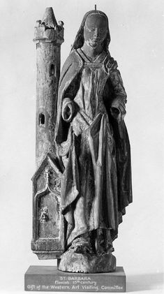 Saint Barbara with her tower (France, ca. Museum of Fine Arts, Boston). Saint Barbara, Sculpture Museum, Statues, Medieval Art, Museum Of Fine Arts, All Saints, 16th Century, Occult, Renaissance