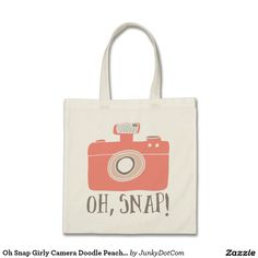 Oh #Snap #Girly #Camera Doodle Peach Brown Bags - June 25 - 6x