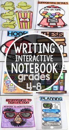 This writing interactive notebook will engage your language arts classroom with templates for common core that include grammar, writing, setting up, organization, lesson plans, and so much more. Teach 4th, 5th, 6th, 7th, and 8th grade Use these graphic organizers as anchor charts with students to promote learning. Complete with 24 lesson plans! Writing | Interactive Notebooks | Reading | Templates | Kids | Foldables