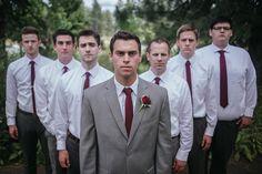 Matt Shumate Photography groom and groomsmen serious portrait standing in a V