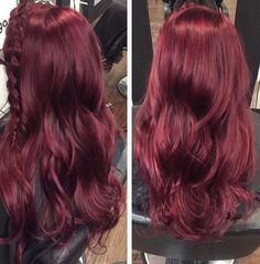 Ask your stylist for raspberry to achieve this color! I used violet and red (mostly red) vivid colors on blonde hair to get her bright without being over the top! Please pin and comment your thoughts! Red Purple Hair, Burgundy Hair, Cherry Red Hair, Raspberry Hair Color, Mahogany Hair, Maroon Hair, Rose Violette, Bright Hair Colors, Vivid Colors