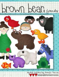 Digital Felt Art: Brown Bear & Friends