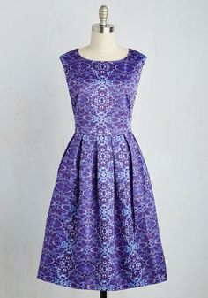 Wishing Pond Pretty Dress by Dear Creatures - Purple, Print, Other Print, Party, 50s, 60s, Fit & Flare, Sleeveless, Woven, Long, Satin