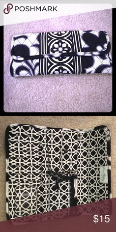 "Vera Bradley Trifold Wallet Features snap close pocket, card holders, zip close pocket, and two money pouches. Magnetic front close. Roughly 9""x4"" in size. Vera Bradley Bags Wallets"