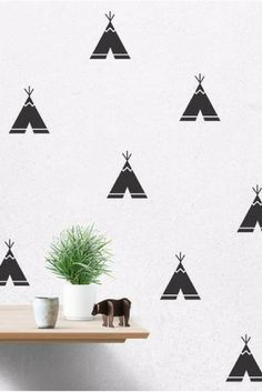 Cartoon Teepee Wall Decals Removable Wall Stickers Kids Room Decor 32 pcs per lot Teepee Kids, Teepee Tent, Kids Room Wall Stickers, Vinyl Wall Decals, Teepee Pattern, Removable Wall Stickers, Boys Bedroom Decor, Room Posters, Wall Patterns