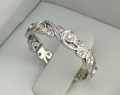 Milgrain Floral Wedding Ring Antique Style Anniversary Ring Diamond Wedding Band White Gold 14k